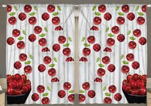 Cherry Kitchen Curtains Country Curtains For Kitchen Cherries Decor Cherry Fruit Window Drapes White Ebay