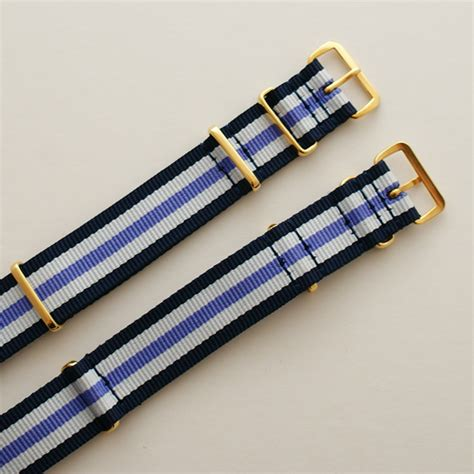 Nato 2 Navy 2 Purple Buckle Gold navy blue white and purple stripe nato with gold buckle heat sealed 18mm or 20mm