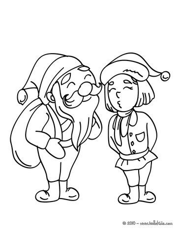 santa with elf coloring pages hellokids com