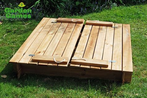 sandbox with folding benches square sandpit with benches and folding lid yardgames