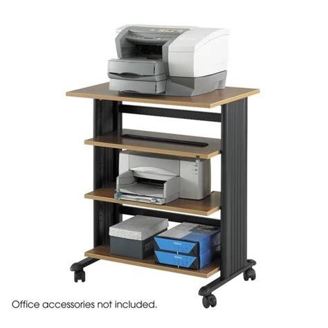 safco m 220 v 4 level adjustable printer stand in medium oak