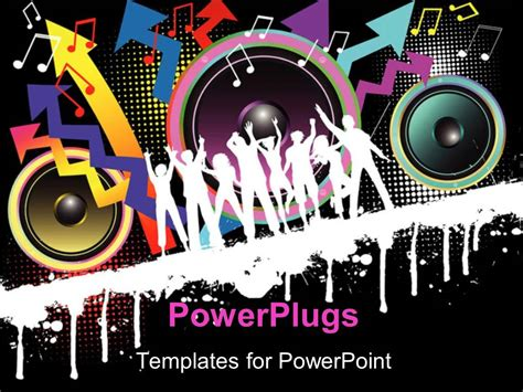 Powerpoint Template Party Theme With Silhouettes Celebration Templates