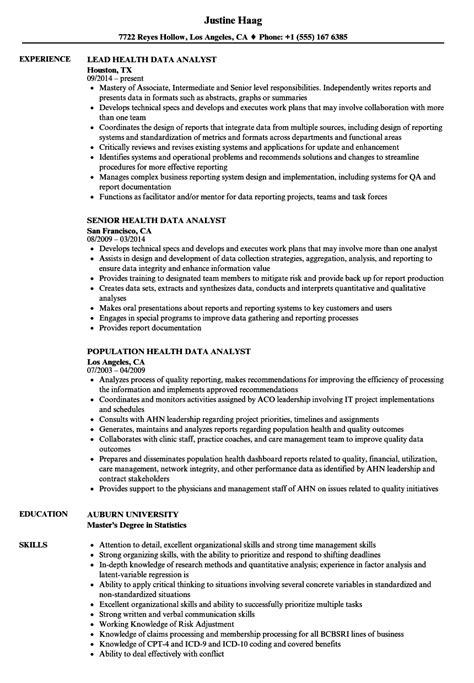 Health Data Analyst Resume Samples | Velvet Jobs