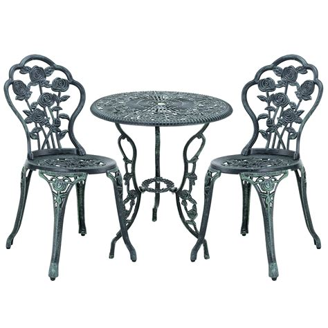 Cast Iron Bistro Table And Chairs Table 2 Chairs Cast Iron Antique Green Bistro Set Garden Sofa Ebay