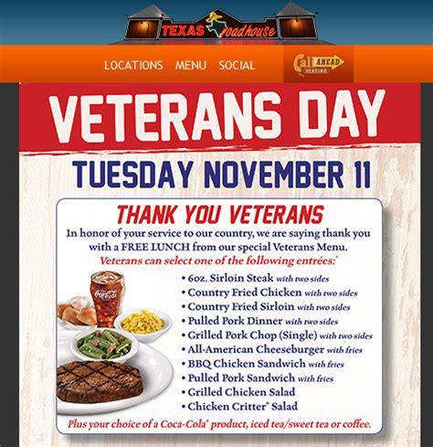 Road House Eat Free by Veterans Eat Free Restaurants Veterans Day 2014