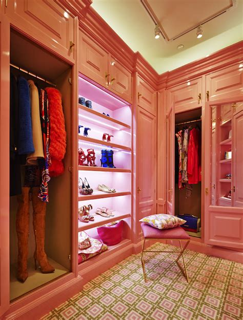 Pink Closet by 24k Gold Hardware Closet Peacock Cabinetry