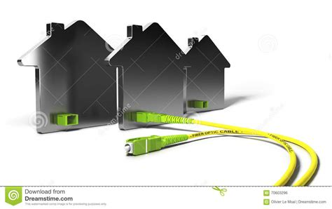 ftth fiber to the home 3d illustration stock illustration