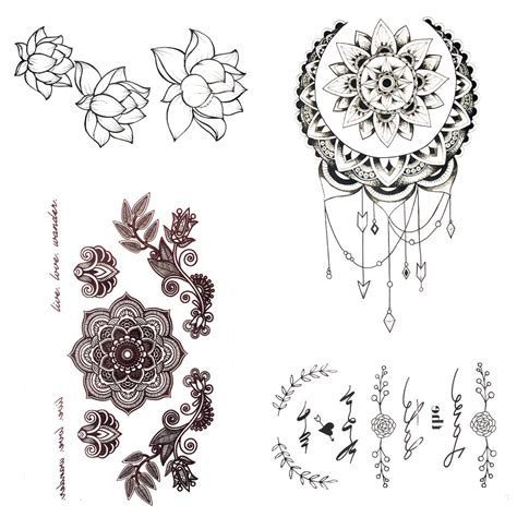 black henna tattoo artist small henna mandala flower temporary sun moon