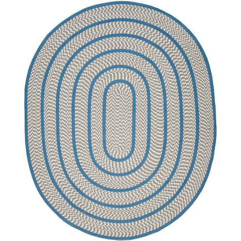 oval accent rugs safavieh braided ivory blue 5 ft x 8 ft oval area rug brd401a 5ov the home depot