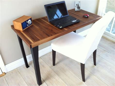 modern industrial computer desk featuring black walnut top