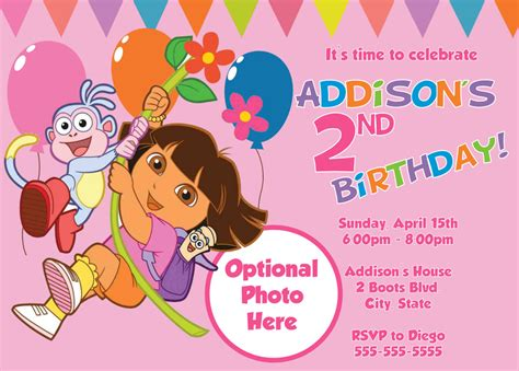Dora The Explorer Birthday Invitations Template   Best