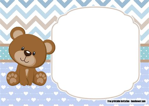 Free Printable Teddy Bear Baby Shower Invitations Template Free Printable Birthday Invitation Teddy Baby Shower Invitations Templates Free