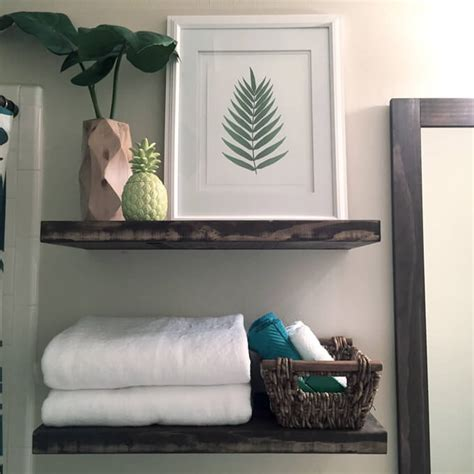 floating shelves in guest bathroom gray house studio