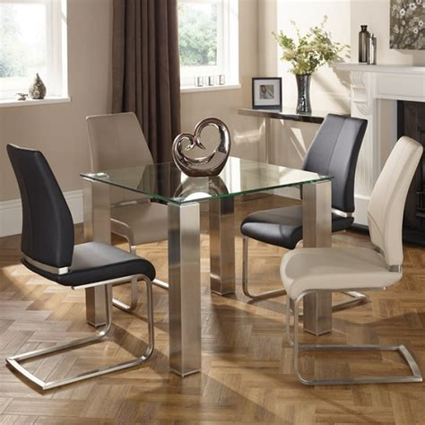Dining Room Furniture Ontario Ontario Glass Dining Table Square With 4 Dawlish Chairs