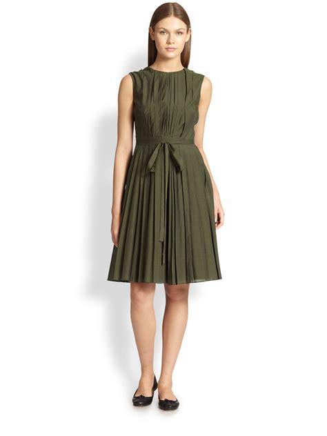 Maxmara Teratai 1 max mara massa pleat front dress in green lyst