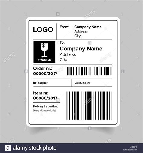shipping label template shipping label template stock vector illustration