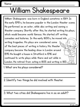 shakespeare biography for elementary students william shakespeare biography pack by jessica tobin