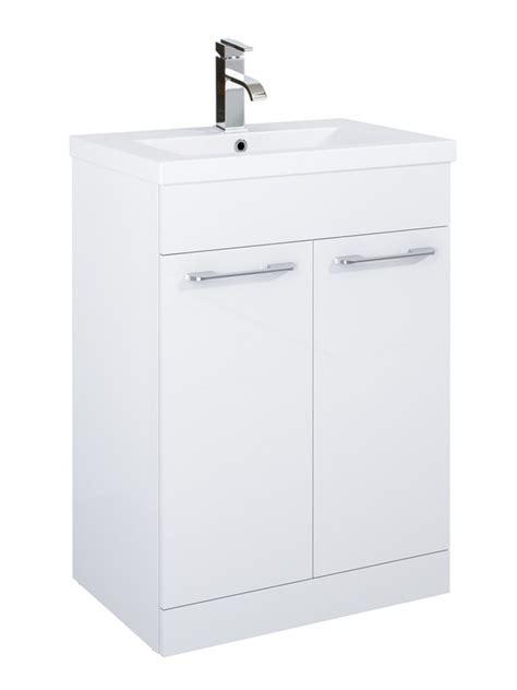porto 60cm vanity unit 2 door white and basin