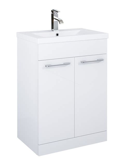 slimline bathroom furniture units porto 60cm vanity unit 2 door white and basin