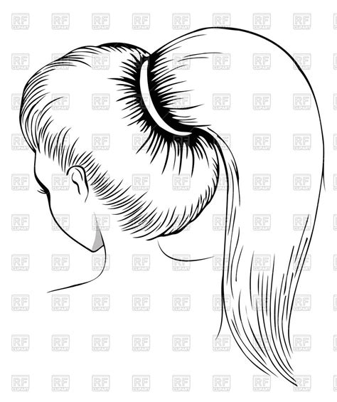 Con Outline by Outlines Of With Ponytail Back View Royalty Free Vector Clip Image 54418