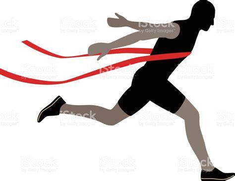 runner line runner crossing the finish line vector illustration stock vector more images of