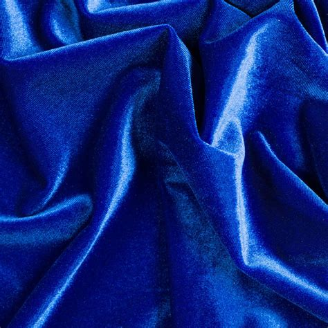 stretch velvet royal blue fabric 58 quot wide sold by the