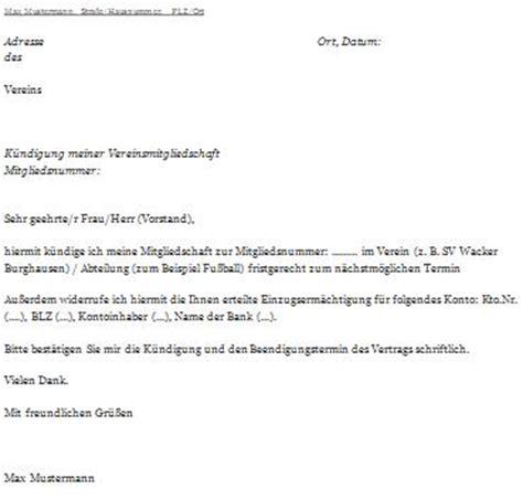 Abmeldung Schreiben Muster Schule K 252 Ndigungsschreiben Verein Ausf 252 Llen Und Abschicken