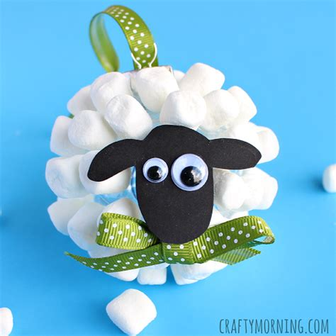 marshmallow crafts for xmas marshmallow sheep ornament crafty morning