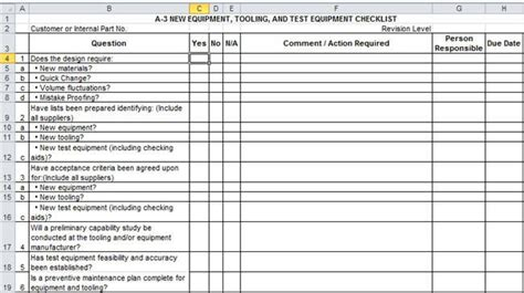 Blank Floor Plan Template by Apqp Checklists In Excel Compatible With Aiag 4th Ed