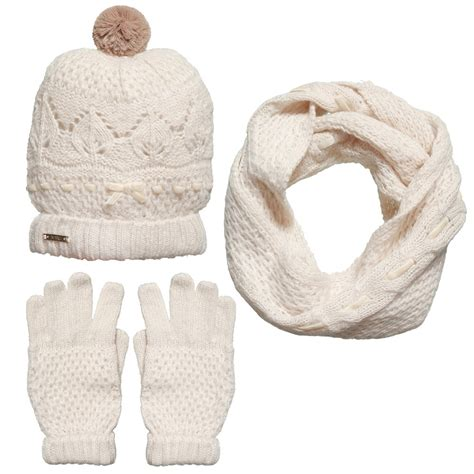 mayoral ivory knitted hat scarf gloves set
