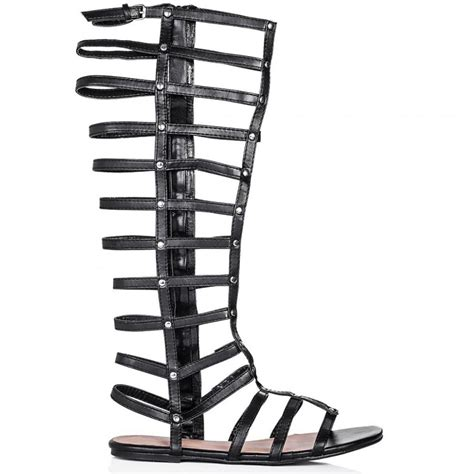 wide calf knee high gladiator sandals buy offbeach flat strappy knee high gladiator sandal shoes