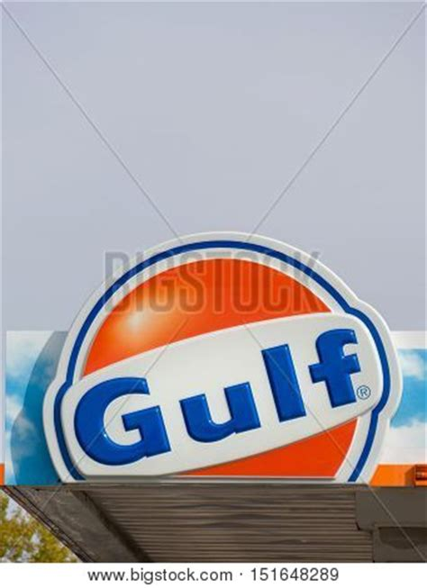 gulf oil exterior sign and logo stock photo & stock images
