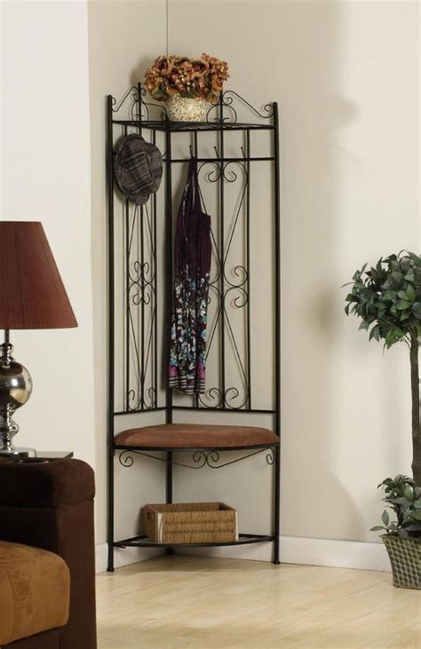 small entryway corner bench metal corner entryway hall tree coat rack stand home