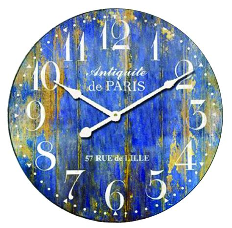 new vintage distressed rustic country antique large blue wall clock ebay