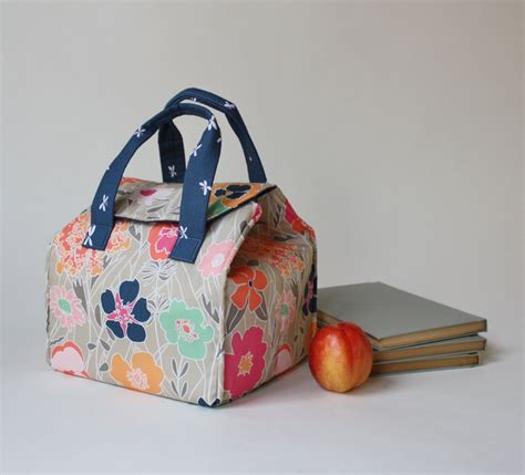 Longch Tote Flower 2120 insulated lunch bag in floral and fireflies binski s studio