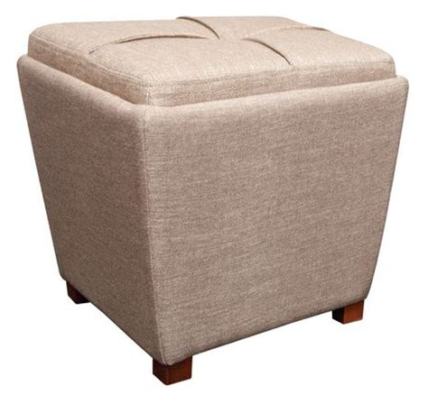 Tapered Fabric Storage Ottoman With Tray Tan Walmart Ca Walmart Ca Ottoman