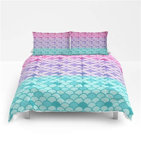 mermaid twin bedding mermaid scales comforter or duvet cover set twin full queen king bedding pink teal