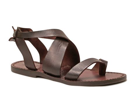 leather sandals sandals in brown leather handmade in italy