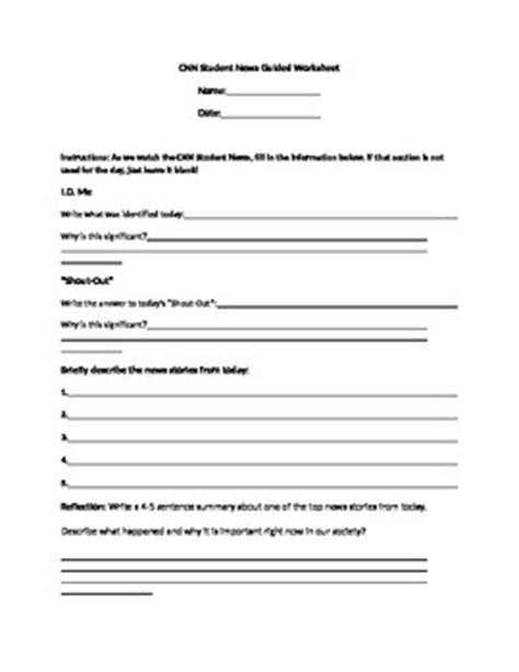 cnn student news guided worksheet by lindsey sauls | tpt