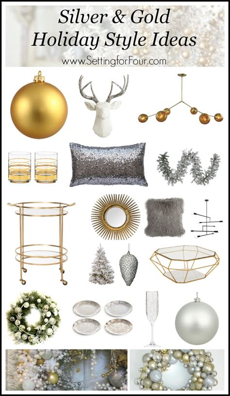 silver and gold style setting for four