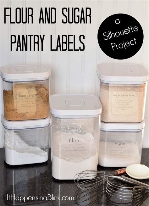 diy kitchen canister labels free silhouette studio file flour and sugar pantry organization labels a silhouette