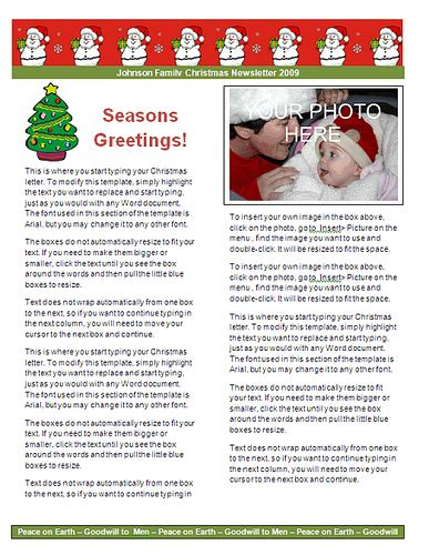 Family Christmas Letter Template Red Snowman Christmaslettertips Com Letter Newsletter Template