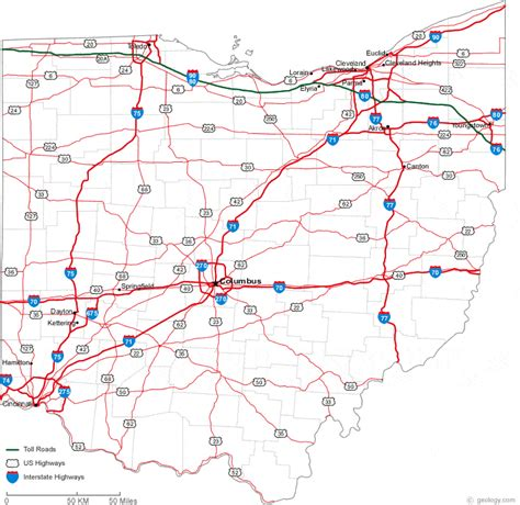 map of ohio rivers and cities map of ohio