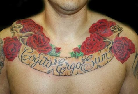 realistic rose and banner chest tattoo by angela leaf