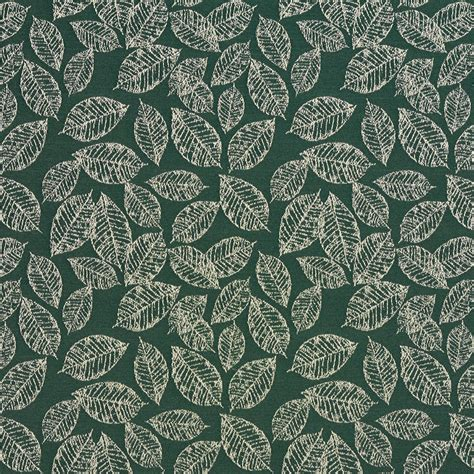 leaf pattern material alpine green and white small decorative leaf pattern