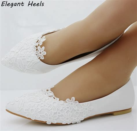 Flache Hochzeitsschuhe by Fashion Ballet Flats White Lace Wedding Shoes Flat Heel