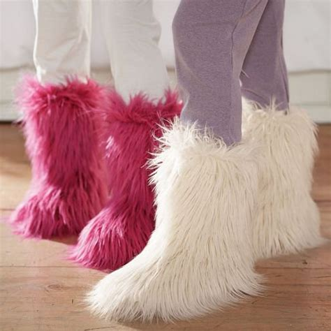 furry house shoes fur rific slippers from pbteen