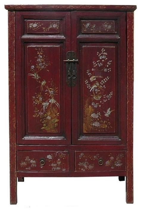 asian armoire flower bird graphic accent armoire asian