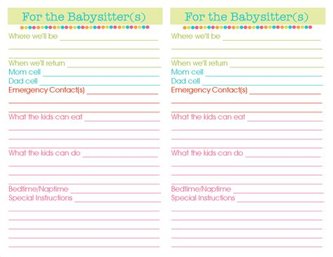 printable babysitter instructions kdbuggie boutique day 5 important information binder