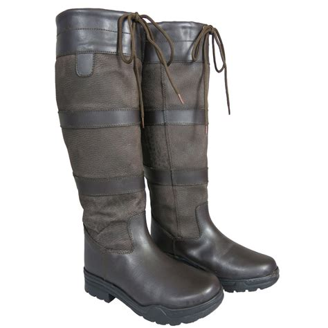 Country Boots 58 Leather mens unisex new winter farm wellies leather country boots size 3 11 ebay